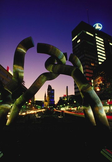 Avante garde sculpture, 'Berlin-Berlin' on Tauentzien strasse, Berlin, Germany.  30,000 plus total European images. : Stock Photo