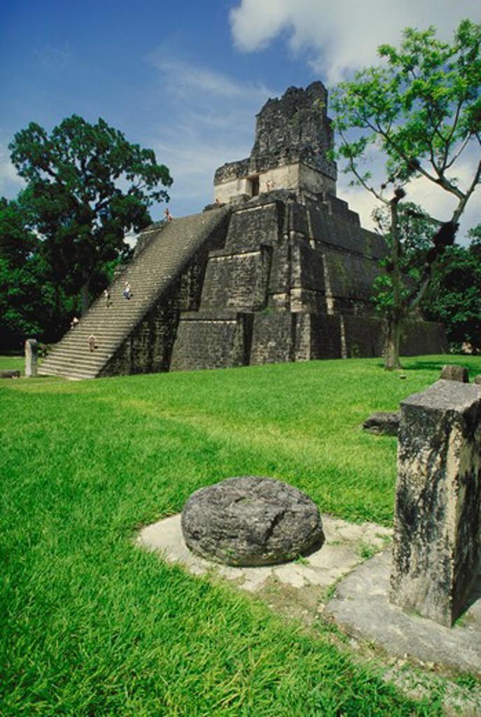 Stock Photo: 4286-29409 Temple II, Great Plaza, Tikal, Guatemala.  Mayan Ruins.  6,000 plus Caribbean & Latin America images.
