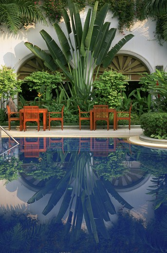 Stock Photo: 4286-29428 Hotel pool reflection, Chiangmai, Thailand