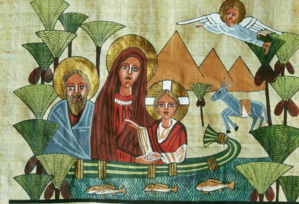 Stock Photo: 4286-29482 Papyrus image of Holy Family, Cairo, Egypt