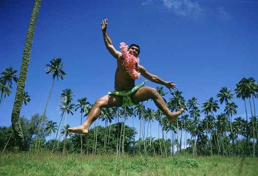 Native dancer, Cook Islands : Stock Photo