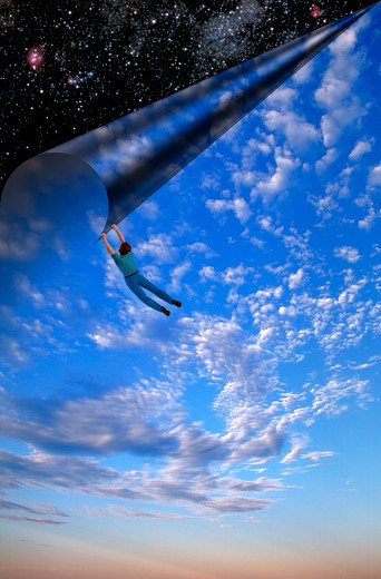 Computer generated illustration of a man hanging from the corner of the sky as he appears to pull or peel the daytime sky, clouds and atmosphere back to reveal stars in outer space. : Stock Photo