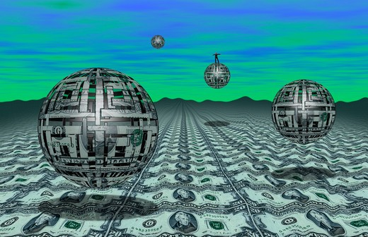 Several spheres floating above a landscapes of twenty dollar bills. There is a man standing on top of one of the spheres. : Stock Photo