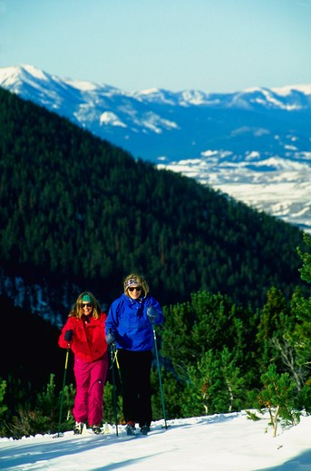 Cross-country skiing in the Beartooth Mountains, Montana. : Stock Photo