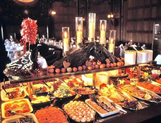 Stock Photo: 4286-30944 SWEDEN STOCKHOLM. TRADITIONAL CHRISTMAS BUFFET. RESTAURANT OPERA KALLAREN.