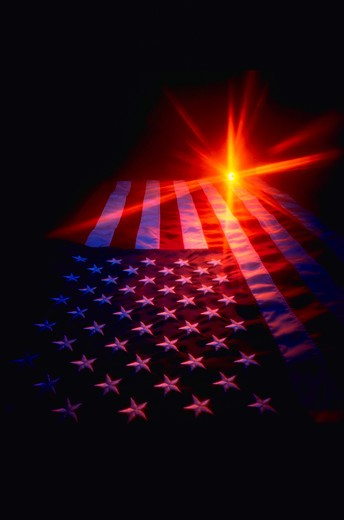 Stock Photo: 4286-31080 American flag with starburst