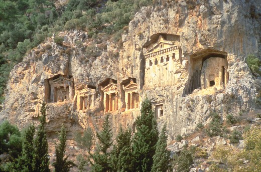 Stock Photo: 4286-31184 Ancient tombs built into the mountainside on Turkey?s southern Mediterranean coast near Dalyan.