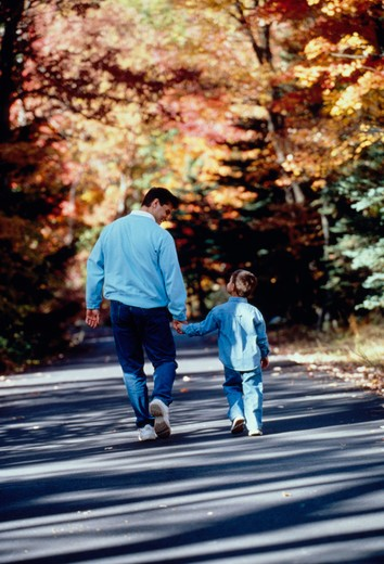 Stock Photo: 4286-31312 Father and young son holding hands and walking along country road with fall foliage.