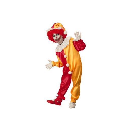 Seamless studio shot of a youngster wearing traditional clown makeup and a red and gold costume. : Stock Photo