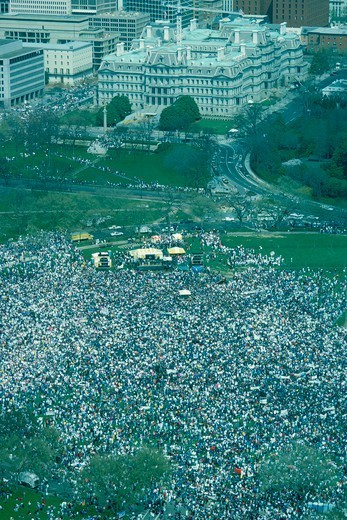Pro-choice rally on the Ellipse as seen from the top of the Washington Monument. Executive Office Building in the background. : Stock Photo