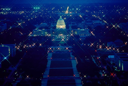 Stock Photo: 4286-32069 The U.S. Capitol and National Mall at night as seen from the top of the Washington Monument.