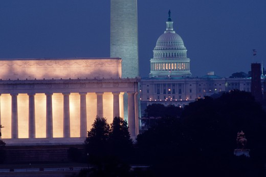 Stock Photo: 4286-32070 Lincoln Memorial, Washington Monument and U.S. Capitol in early evening twilight as seen from Virginia across the Potomac River.