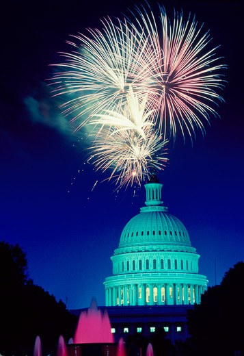 Stock Photo: 4286-32077 Fireworks bursting over U.S. Capitol dome, Washington, DC as seen from the Union Station Plaza.