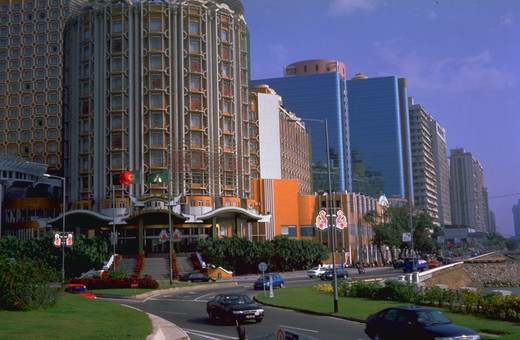 Stock Photo: 4286-32347 Street lined with casinos and hotels, Macau,China.