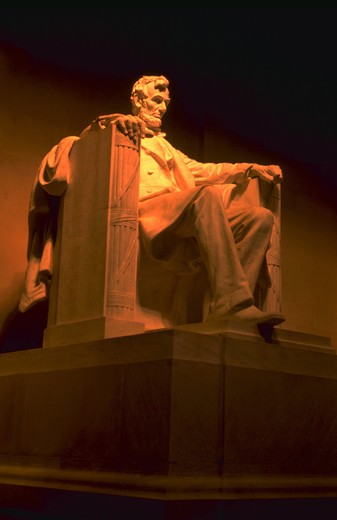 Close-up of the statue of Abe Lincoln at the Lincoln Memorial in Washington, D.C. : Stock Photo