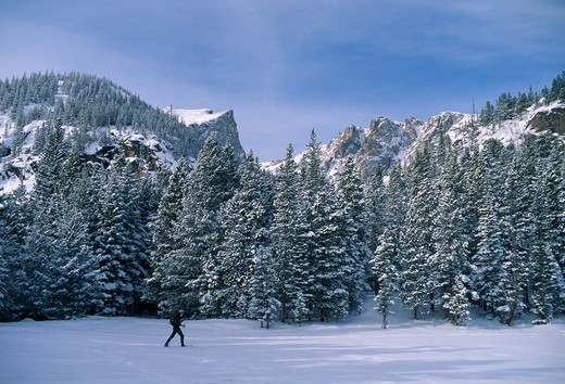 Stock Photo: 4286-32955 Man snowshoeing on new snow beneath Hallett Peak, Rocky Mtn Nat'l Park, CO