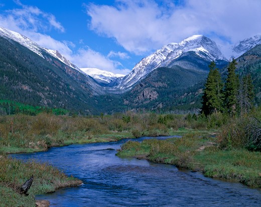 A spring morning on Fall River with a view of Endovalley and Mt Chapin, Rocky Mountain National Park, CO : Stock Photo