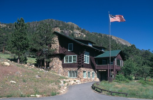 Stock Photo: 4286-33076 Historic cabin that houses the Moraine Park Museum, Rocky Mtn Nat'l Park, CO
