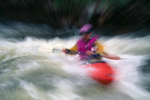 Stock Photo: 4286-33192 Kayaker paddling in spring runoff (abstract), Rocky Mtns, CO