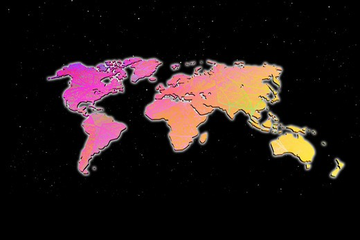 Multicolored world map on a black background. : Stock Photo