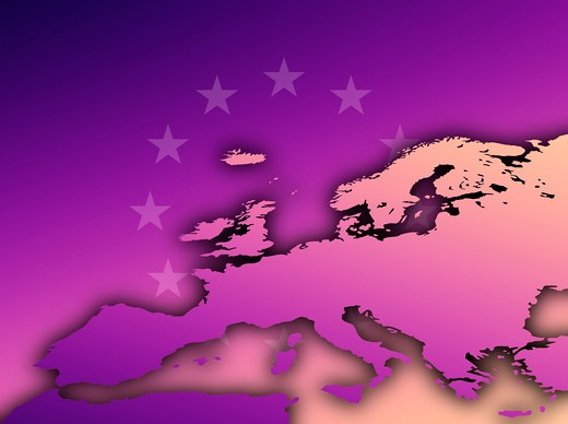 Conceptual map of Europe and EU ring of stars in rich dusk tones : Stock Photo