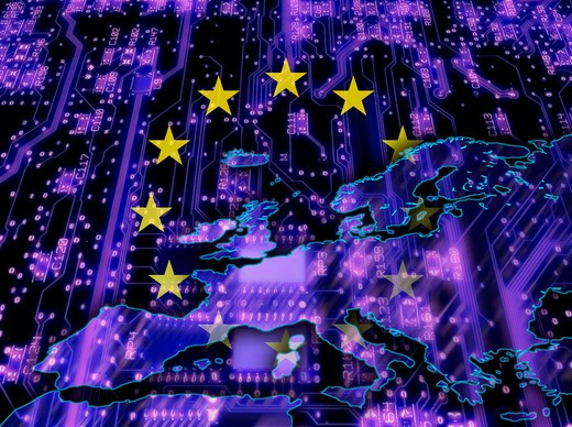 EU ring of stars over blue conceptual map of Europe : Stock Photo