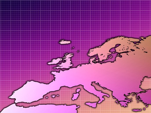 Pink and purple map of Europe : Stock Photo