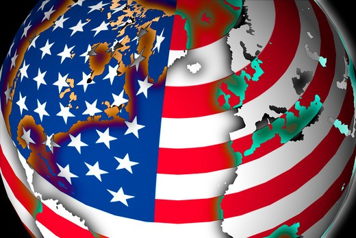 World map and American flag in perfect fusion : Stock Photo