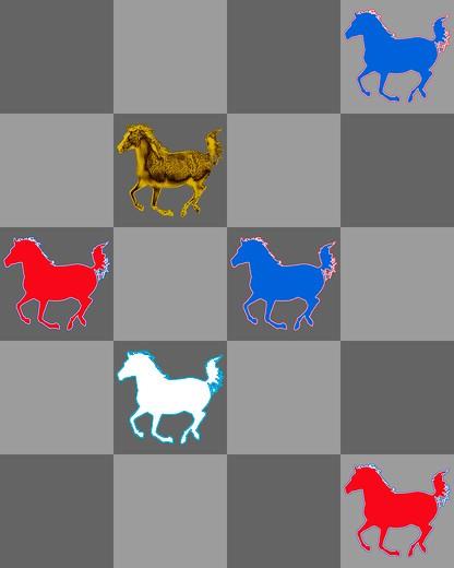 Stylized horses on grey checker board pattern : Stock Photo