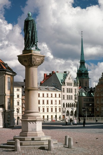 Birger Jarl's Torg in Stockholm with the German Church in the background : Stock Photo