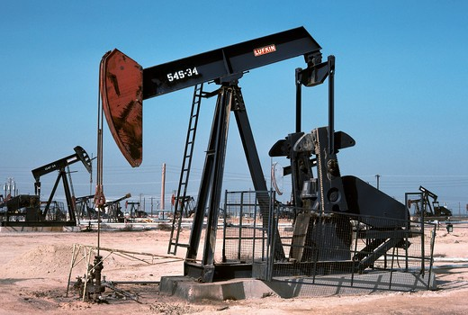 Oil pumps, San Joaquin Valley, California : Stock Photo