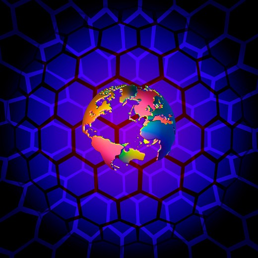 Colorful earth sculpture and hex grid : Stock Photo