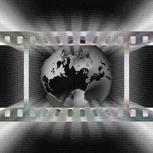 Grey toned earth symbol in film strip frame with ones and zeroes filling space : Stock Photo