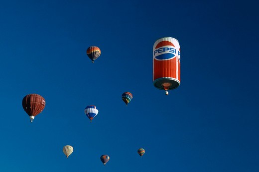 A Pepsi can in the air : Stock Photo