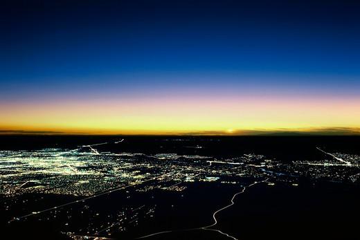 High altitude sunset over New Mexico and Albuquerque : Stock Photo