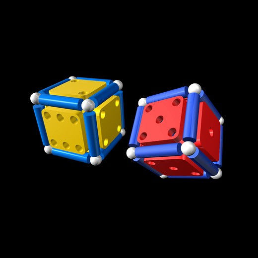 Two bright colored fantasy dice : Stock Photo