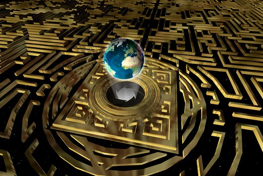 Golden maze with Earth levitating above a mysterious gateway : Stock Photo