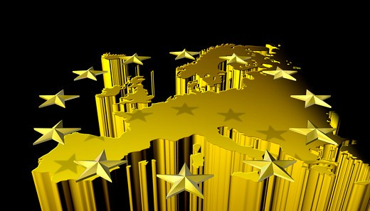 Strong gold version of stylized conceptual map of the European continent and the EU circle of stars : Stock Photo