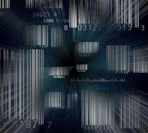 A space filled with bar codes and endless amounts of data : Stock Photo