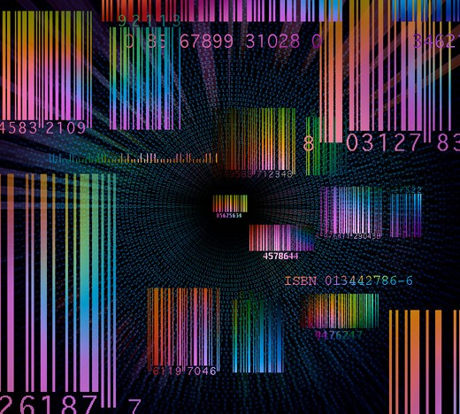 Bar codes in a data filled space : Stock Photo