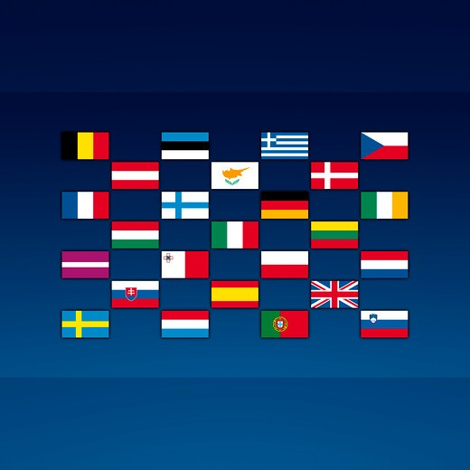 Flags of European Union nations in a grid layout : Stock Photo