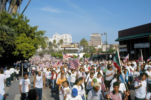 The Great Immigration March on May 1, 2006 in Los Angeles, California : Stock Photo