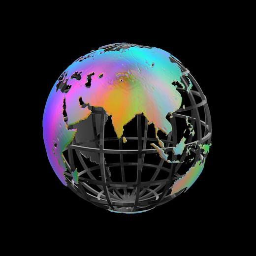 Stylized Earth Globe - India at center : Stock Photo