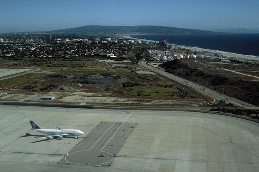 View from airplane taking off from Los Angeles, International Airport, LAX : Stock Photo