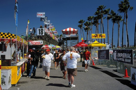 Relaxed and festive atmosphere at the Long Beach Toyota Grand Prix held every spring, usually April : Stock Photo