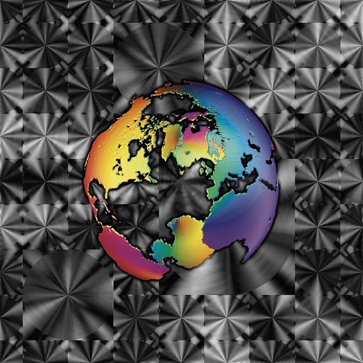 Stylized earth model against a patterned hard metal background : Stock Photo