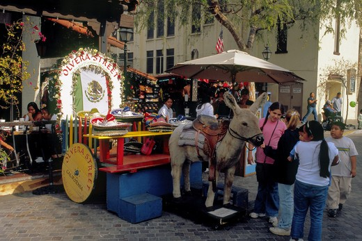 Entrance to popular Olvera Street where the City of Los Angeles was founded according to many : Stock Photo