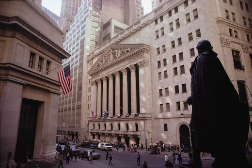 Statue on Wall Street across from New York Stock Exchange, New York City. : Stock Photo
