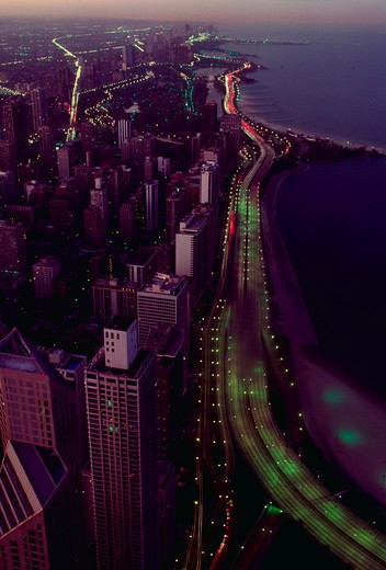 Lake Shore Drive in Chicago at sunset as seen from the John Hancock building. : Stock Photo