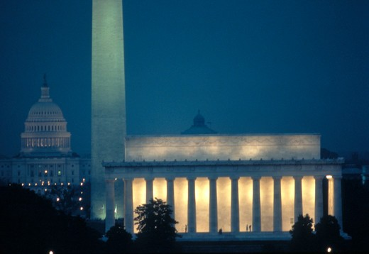 Stock Photo: 4286-34931 Lincoln Memorial, Washington Monument, and U.S. Capitol at night.